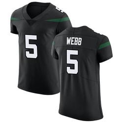 Elite Men's Davis Webb New York Jets Nike Vapor Untouchable Jersey - Stealth Black