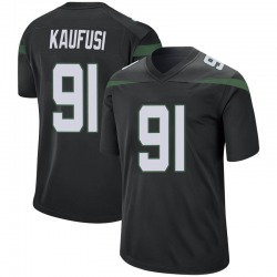 Game Men's Bronson Kaufusi New York Jets Nike Jersey - Stealth Black
