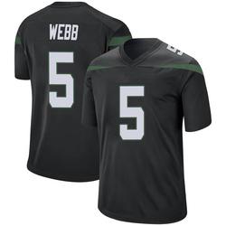 Game Men's Davis Webb New York Jets Nike Jersey - Stealth Black