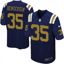 Game Men's De'Angelo Henderson New York Jets Nike Alternate Jersey - Navy Blue