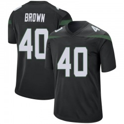 Game Men's Kyron Brown New York Jets Nike Jersey - Stealth Black