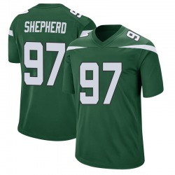 Game Men's Nathan Shepherd New York Jets Nike Jersey - Gotham Green