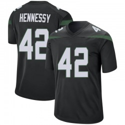 Game Men's Thomas Hennessy New York Jets Nike Jersey - Stealth Black
