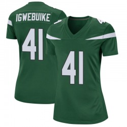 Game Women's Godwin Igwebuike New York Jets Nike Jersey - Gotham Green