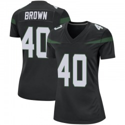 Game Women's Kyron Brown New York Jets Nike Jersey - Stealth Black