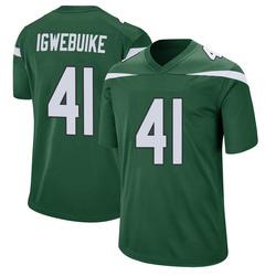 Game Youth Godwin Igwebuike New York Jets Nike Jersey - Gotham Green