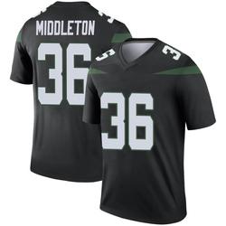 Legend Men's Doug Middleton New York Jets Nike Color Rush Jersey - Stealth Black