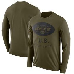 Legend Men's New York Jets Nike 2018 Salute to Service Sideline Performance Long Sleeve T-Shirt - Olive