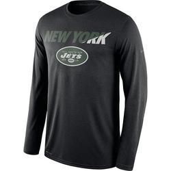Legend Men's New York Jets Nike Staff Practice Long Sleeve Performance T-Shirt - Black