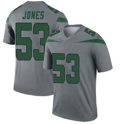 Legend Men's Tyler Jones New York Jets Nike Inverted Jersey - Gray
