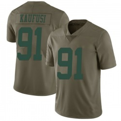 Limited Men's Bronson Kaufusi New York Jets Nike 2017 Salute to Service Jersey - Green