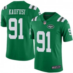 Limited Men's Bronson Kaufusi New York Jets Nike Color Rush Jersey - Green