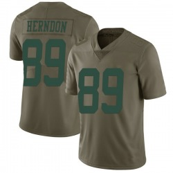 Limited Men's Chris Herndon New York Jets Nike 2017 Salute to Service Jersey - Green