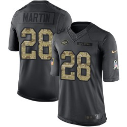Limited Men's Curtis Martin New York Jets Nike 2016 Salute to Service Jersey - Black