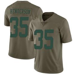 Limited Men's De'Angelo Henderson New York Jets Nike 2017 Salute to Service Jersey - Green