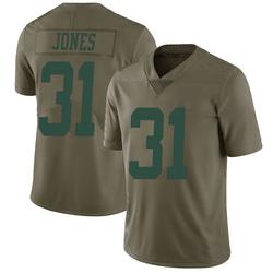 Limited Men's Derrick Jones New York Jets Nike 2017 Salute to Service Jersey - Green