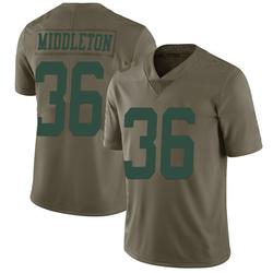 Limited Men's Doug Middleton New York Jets Nike 2017 Salute to Service Jersey - Green