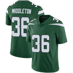 Limited Men's Doug Middleton New York Jets Nike Vapor Jersey - Gotham Green