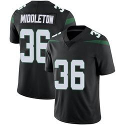 Limited Men's Doug Middleton New York Jets Nike Vapor Jersey - Stealth Black