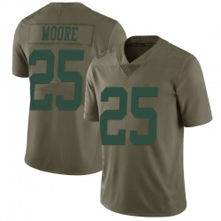 Limited Men's Jalin Moore New York Jets Nike 2017 Salute to Service Jersey - Green