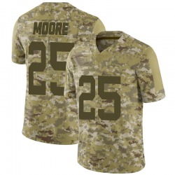 Limited Men's Jalin Moore New York Jets Nike 2018 Salute to Service Jersey - Camo