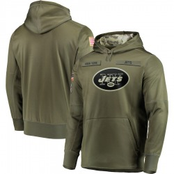 Men's New York Jets Nike 2018 Salute to Service Sideline Therma Performance Pullover Hoodie - Olive