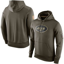 Men's New York Jets Nike Salute To Service KO Performance Hoodie - Olive