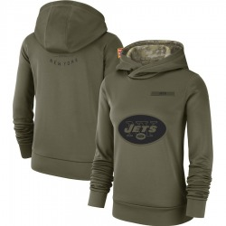 Women's New York Jets Nike 2018 Salute to Service Team Logo Performance Pullover Hoodie - Olive