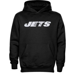 Youth New York Jets Faded Wordmark Hoodie - - Black